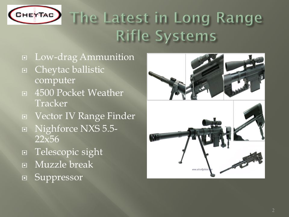 Low-drag Ammunition Cheytac ballistic computer 4500 Pocket Weather Tracker Vector IV Range Finder Nighforce NXS 5.5- 22x56 Telescopic sight Muzzle bre