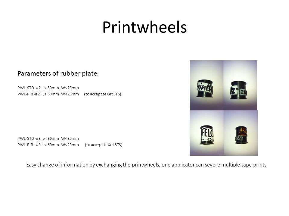 Printwheels Parameters of rubber plate ; PWL-STD -#2 L< 80mm W<23mm PWL-RIB -#2 L< 60mm W<23mm (to accept teXet STS) PWL-STD -#3 L< 80mm W<35mm PWL-RI