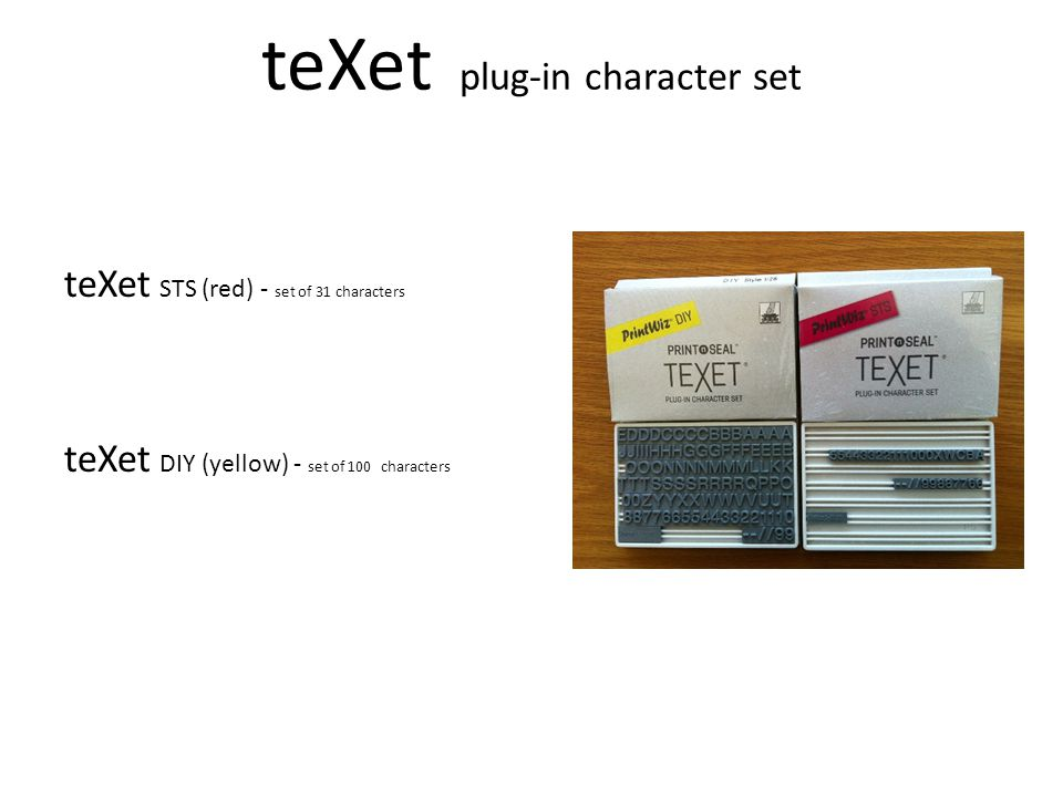 teXet plug-in character set teXet STS (red) - set of 31 characters teXet DIY (yellow) - set of 100 characters