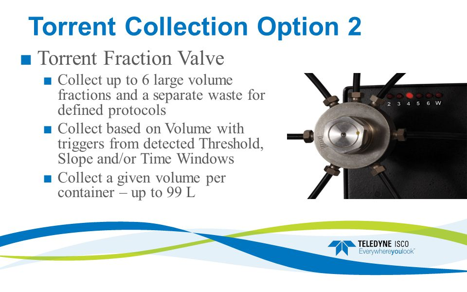 Torrent Collection Option 2 Torrent Fraction Valve Collect up to 6 large volume fractions and a separate waste for defined protocols Collect based on Volume with triggers from detected Threshold, Slope and/or Time Windows Collect a given volume per container – up to 99 L