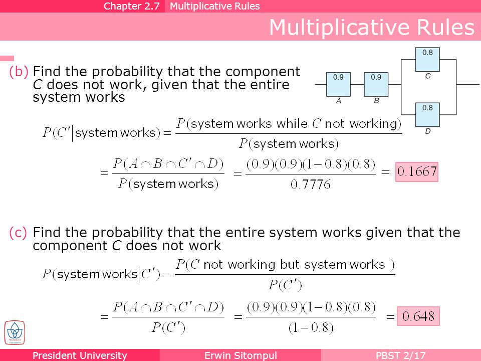 President UniversityErwin SitompulPBST 2/17 (c)Find the probability that the entire system works given that the component C does not work Multiplicati