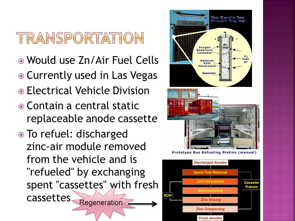 Would use Zn/Air Fuel Cells Currently used in Las Vegas Electrical Vehicle Division Contain a central static replaceable anode cassette To refuel: dis