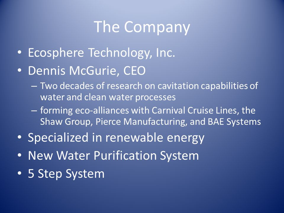 The Company Ecosphere Technology, Inc.