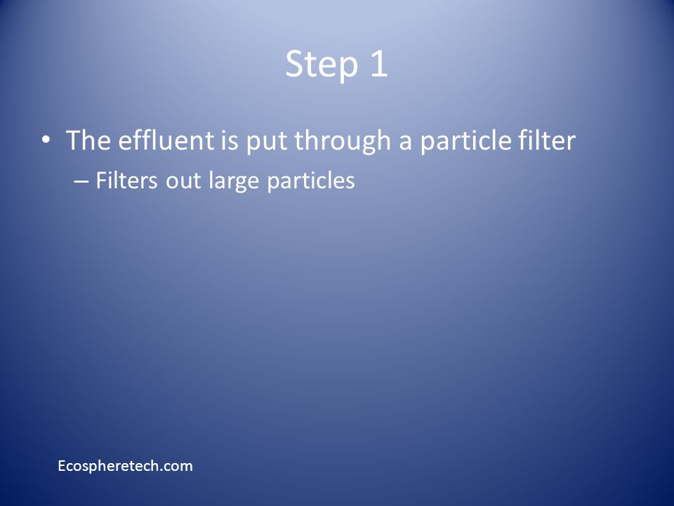 Step 1 The effluent is put through a particle filter – Filters out large particles Ecospheretech.com