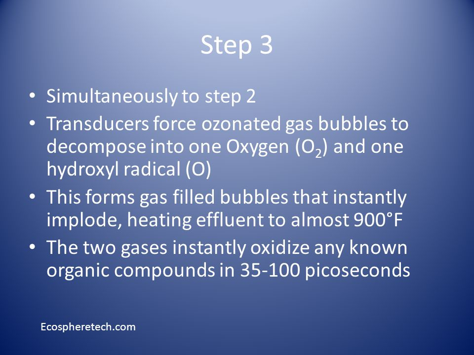 Step 3 Simultaneously to step 2 Transducers force ozonated gas bubbles to decompose into one Oxygen (O 2 ) and one hydroxyl radical (O) This forms gas filled bubbles that instantly implode, heating effluent to almost 900°F The two gases instantly oxidize any known organic compounds in 35-100 picoseconds Ecospheretech.com