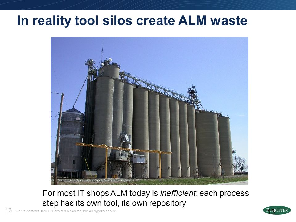 13 Entire contents © 2008 Forrester Research, Inc. All rights reserved. 13 In reality tool silos create ALM waste For most IT shops ALM today is ineff