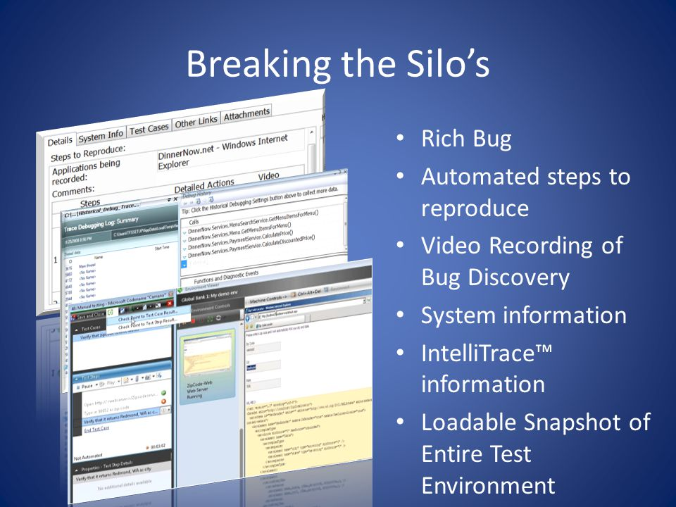 Breaking the Silos Rich Bug Automated steps to reproduce Video Recording of Bug Discovery System information IntelliTrace information Loadable Snapshot of Entire Test Environment