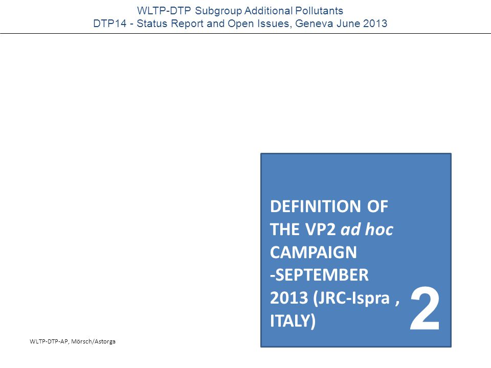 WLTP-DTP-AP, Mörsch/Astorga WLTP-DTP Subgroup Additional Pollutants DTP14 - Status Report and Open Issues, Geneva June 2013 closed issueAP solutionDTP opinion/solution NH 3 -Measurement (scope of measurement) SCR-vehicles to prevent overdosing of urea Issue withdrawn; no scope of technology defined NH 3 -MeasurementMeasuring concentration at tailpipe Mass based measurement not feasible.