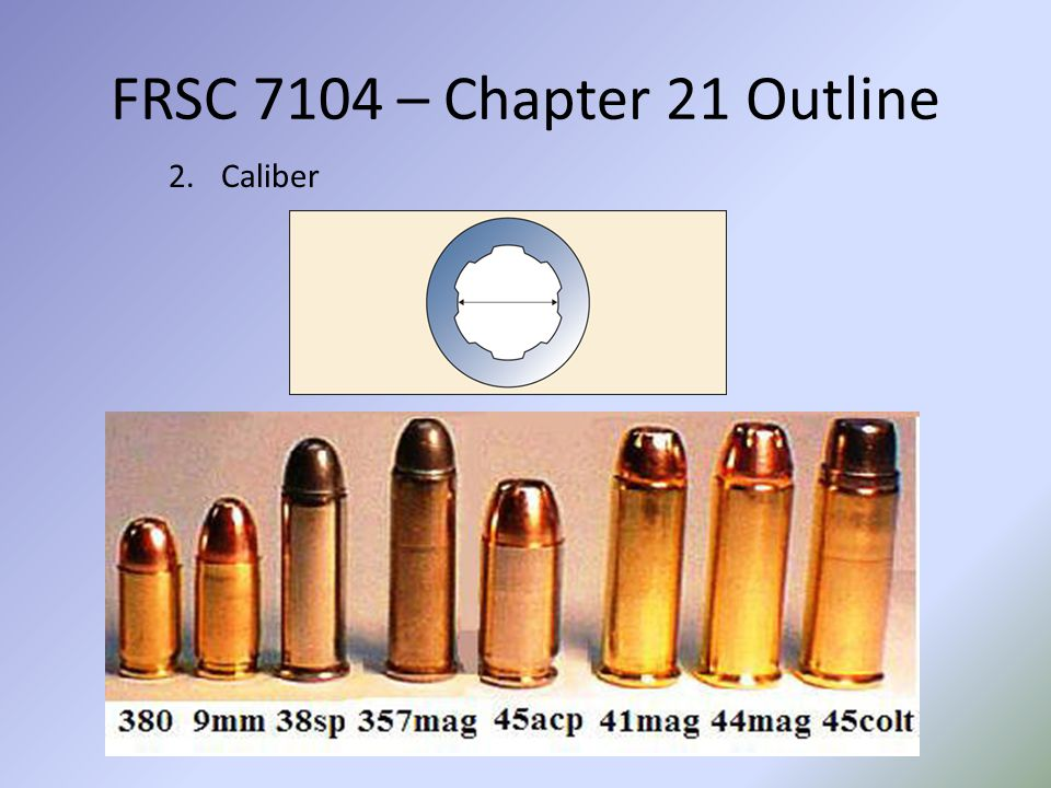 FRSC 7104 – Chapter 21 Outline 2.Caliber
