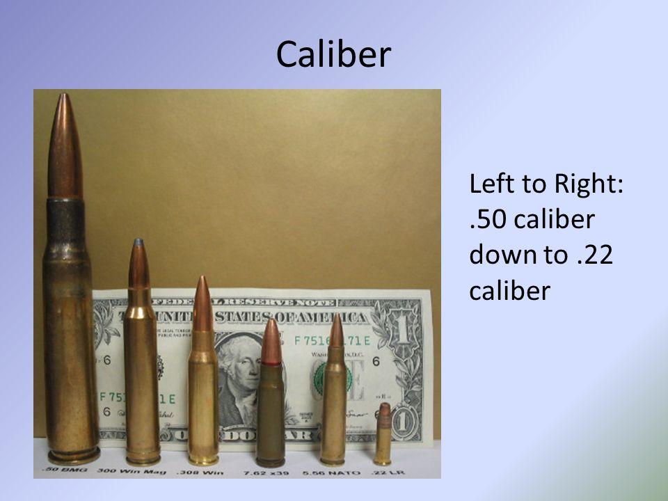 Caliber Left to Right:.50 caliber down to.22 caliber