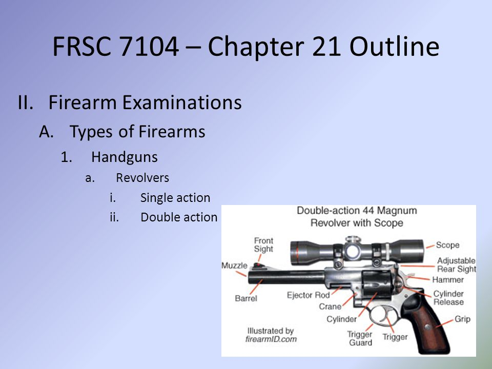 FRSC 7104 – Chapter 21 Outline b.Semi-automatic pistols