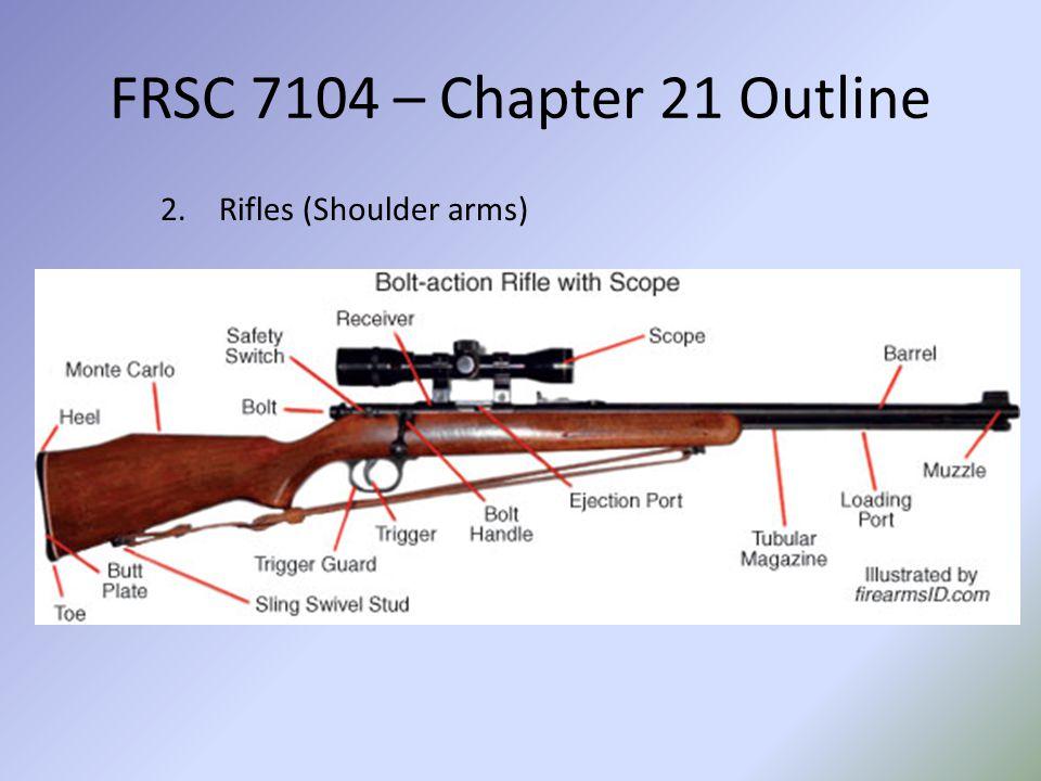 FRSC 7104 – Chapter 21 Outline a.Semi-automatic b.Automatic c.Machine Guns d.Submachine Guns