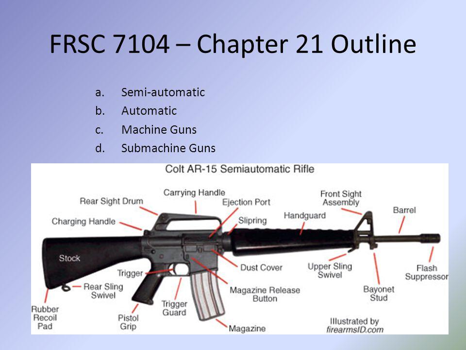 FRSC 7104 – Chapter 21 Outline III.Gunshot (Gunpowder) Residue A.What causes gunpowder residue?
