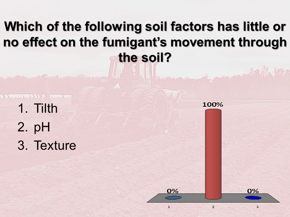 Which of the following soil factors has little or no effect on the fumigants movement through the soil? 1.Tilth 2.pH 3.Texture