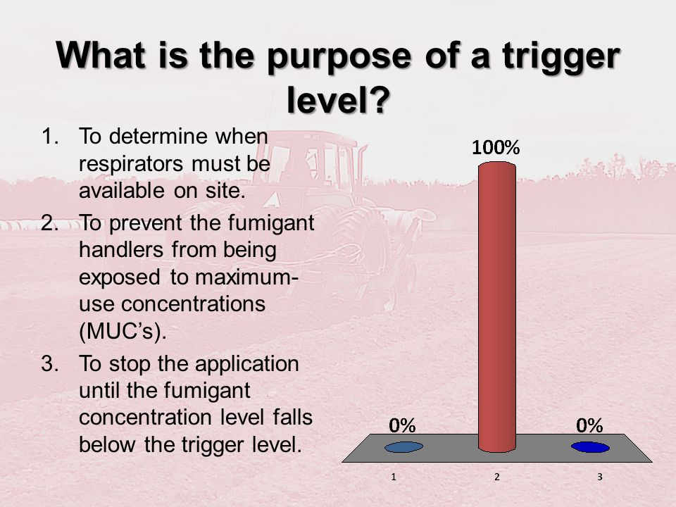 What is the purpose of a trigger level? 1.To determine when respirators must be available on site. 2.To prevent the fumigant handlers from being expos