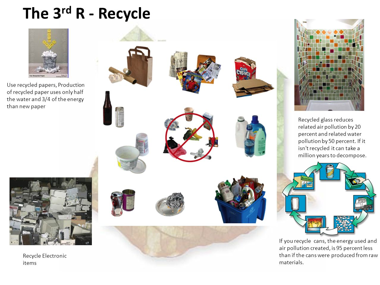 The 3 rd R - Recycle Use recycled papers, Production of recycled paper uses only half the water and 3/4 of the energy than new paper If you recycle cans, the energy used and air pollution created, is 95 percent less than if the cans were produced from raw materials.