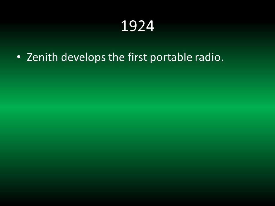 1924 Zenith develops the first portable radio.