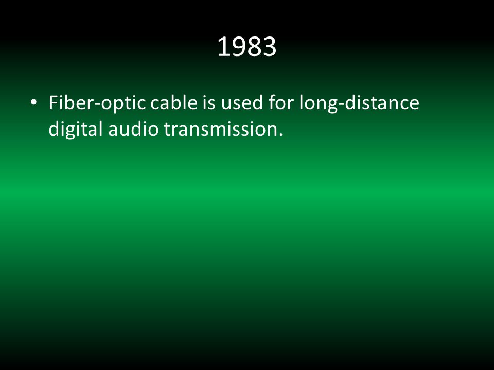 1983 Fiber-optic cable is used for long-distance digital audio transmission.