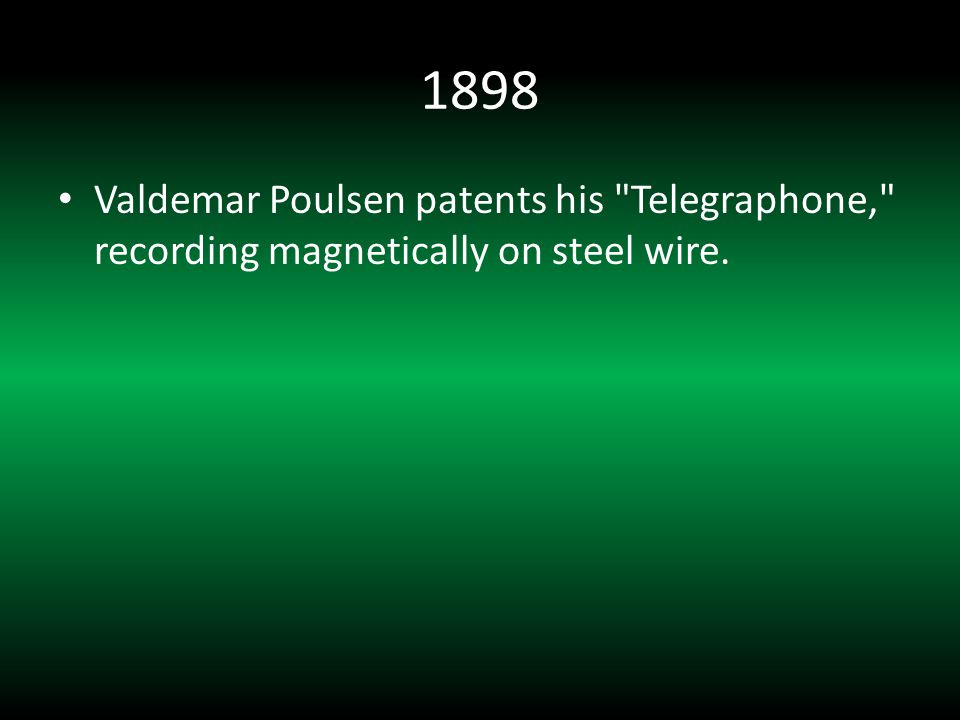 1906 Lee DeForest invents the triode vacuum tube, the first electronic signal amplifier.