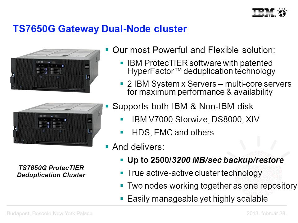 Our most Powerful and Flexible solution: IBM ProtecTIER software with patented HyperFactor deduplication technology 2 IBM System x Servers – multi-cor