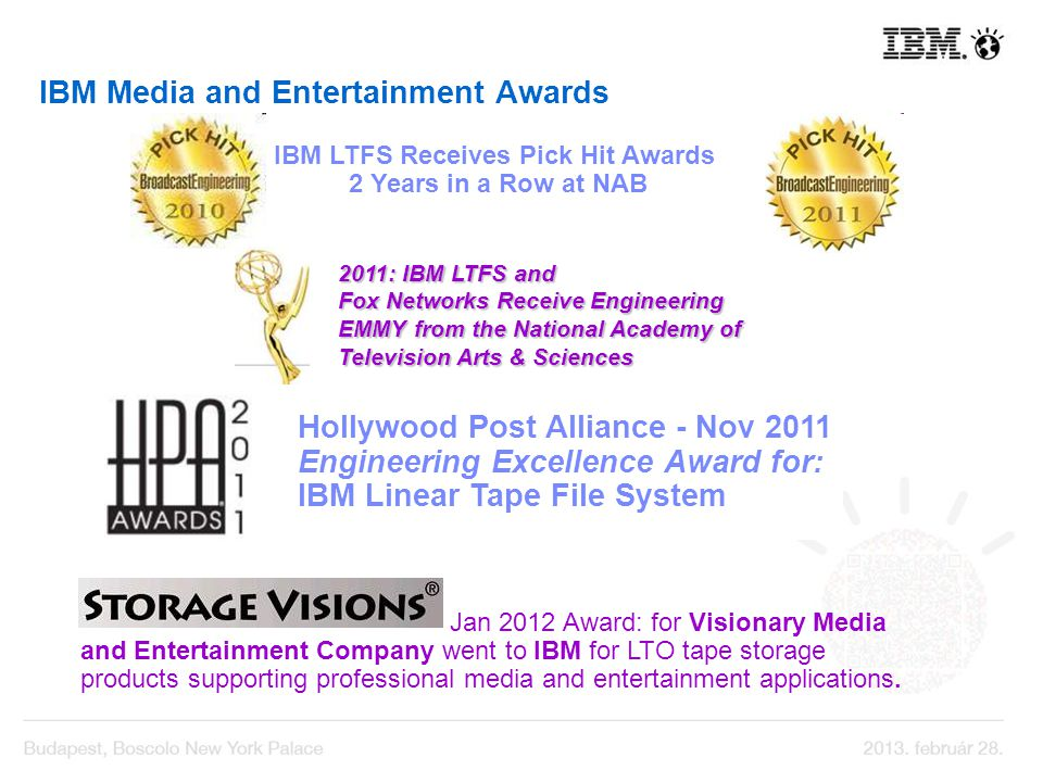IBM Media and Entertainment Awards Hollywood Post Alliance - Nov 2011 Engineering Excellence Award for: IBM Linear Tape File System IBM LTFS Receives