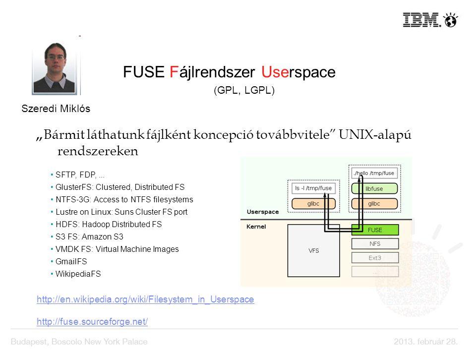 FUSE Fájlrendszer Userspace –ben (GPL, LGPL) Bármit láthatunk fájlként koncepció továbbvitele UNIX-alapú rendszereken http://en.wikipedia.org/wiki/Fil