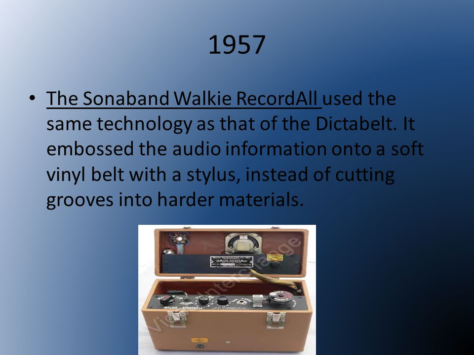 1957 The portable dictet dictation recorder by the Dictaphone Corporation, was the very first dictation machine to use magnetic tape cassettes.