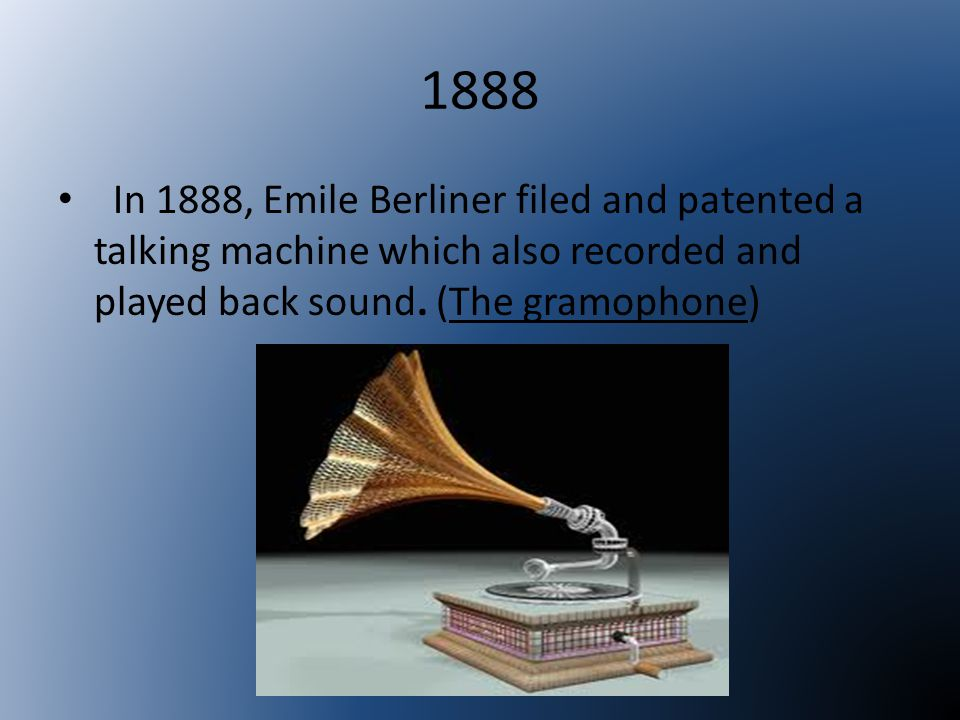 1898 Valdemar Poulsen patents his Telegraphone, recording magnetically on steel wire.