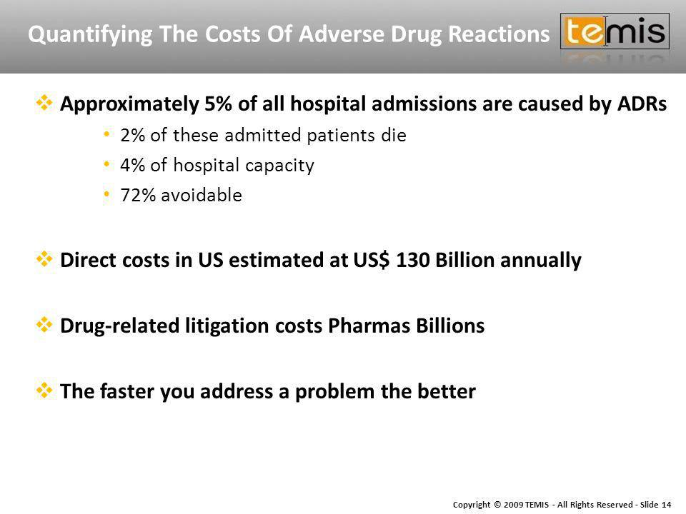 Copyright © 2009 TEMIS - All Rights Reserved - Slide 14 Quantifying The Costs Of Adverse Drug Reactions Approximately 5% of all hospital admissions are caused by ADRs 2% of these admitted patients die 4% of hospital capacity 72% avoidable Direct costs in US estimated at US$ 130 Billion annually Drug-related litigation costs Pharmas Billions The faster you address a problem the better