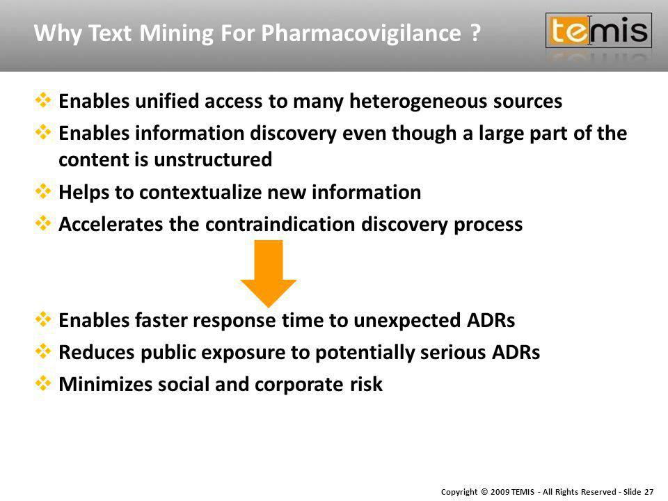 Copyright © 2009 TEMIS - All Rights Reserved - Slide 27 Why Text Mining For Pharmacovigilance .