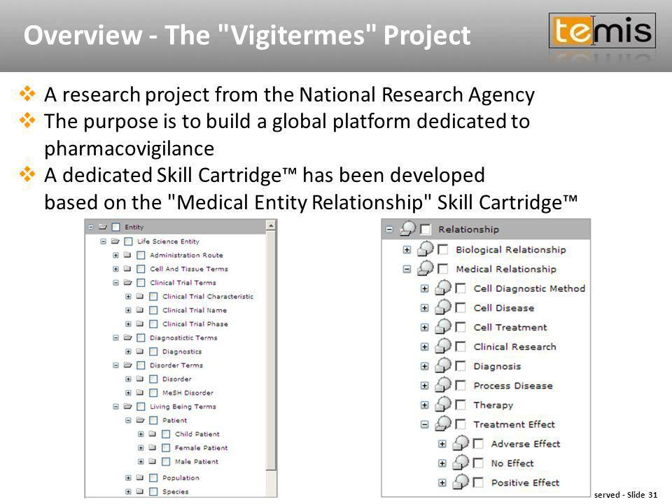 Copyright © 2009 TEMIS - All Rights Reserved - Slide 31 Copyright © 2009 TEMIS - All Rights ReservedSlide 31 Overview - The Vigitermes Project A research project from the National Research Agency The purpose is to build a global platform dedicated to pharmacovigilance A dedicated Skill Cartridge has been developed based on the Medical Entity Relationship Skill Cartridge