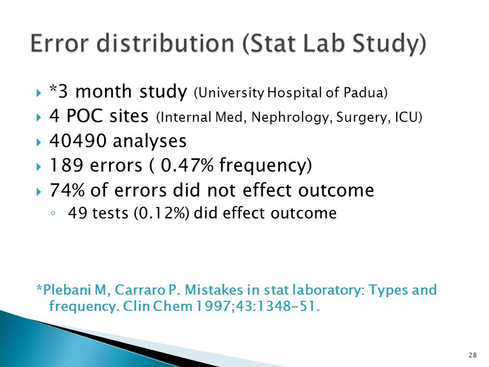 *3 month study (University Hospital of Padua) 4 POC sites (Internal Med, Nephrology, Surgery, ICU) 40490 analyses 189 errors ( 0.47% frequency) 74% of errors did not effect outcome 49 tests (0.12%) did effect outcome *Plebani M, Carraro P.
