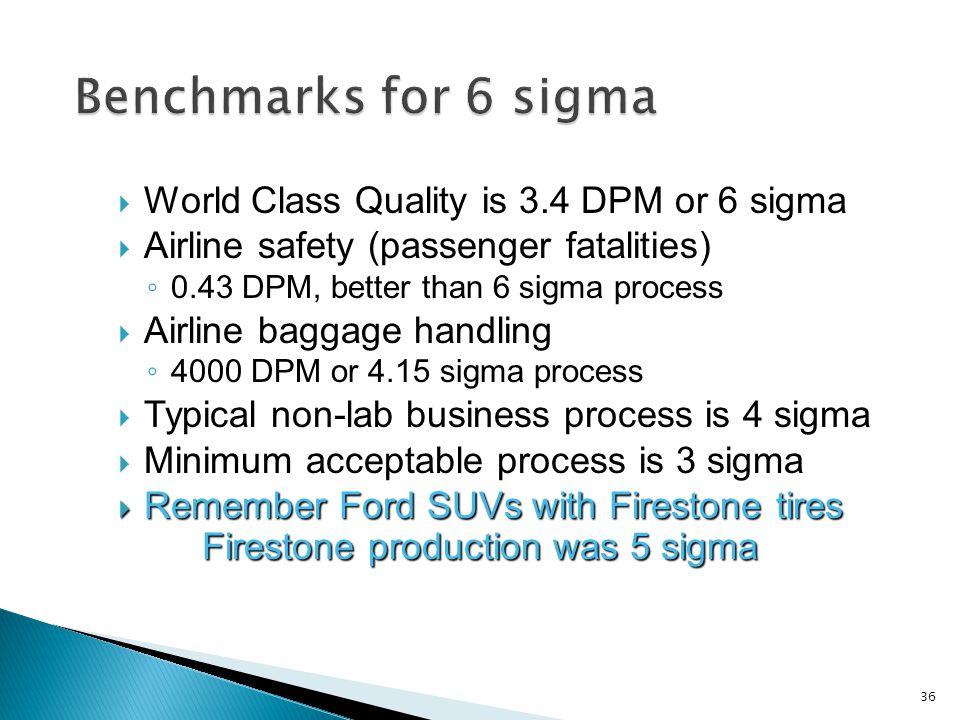 World Class Quality is 3.4 DPM or 6 sigma Airline safety (passenger fatalities) 0.43 DPM, better than 6 sigma process Airline baggage handling 4000 DPM or 4.15 sigma process Typical non-lab business process is 4 sigma Minimum acceptable process is 3 sigma Remember Ford SUVs with Firestone tires Firestone production was 5 sigma Remember Ford SUVs with Firestone tires Firestone production was 5 sigma 36
