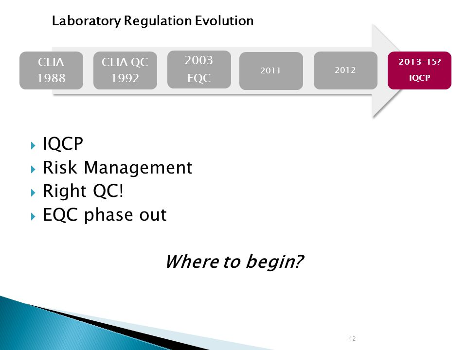 IQCP Risk Management Right QC.EQC phase out Where to begin.