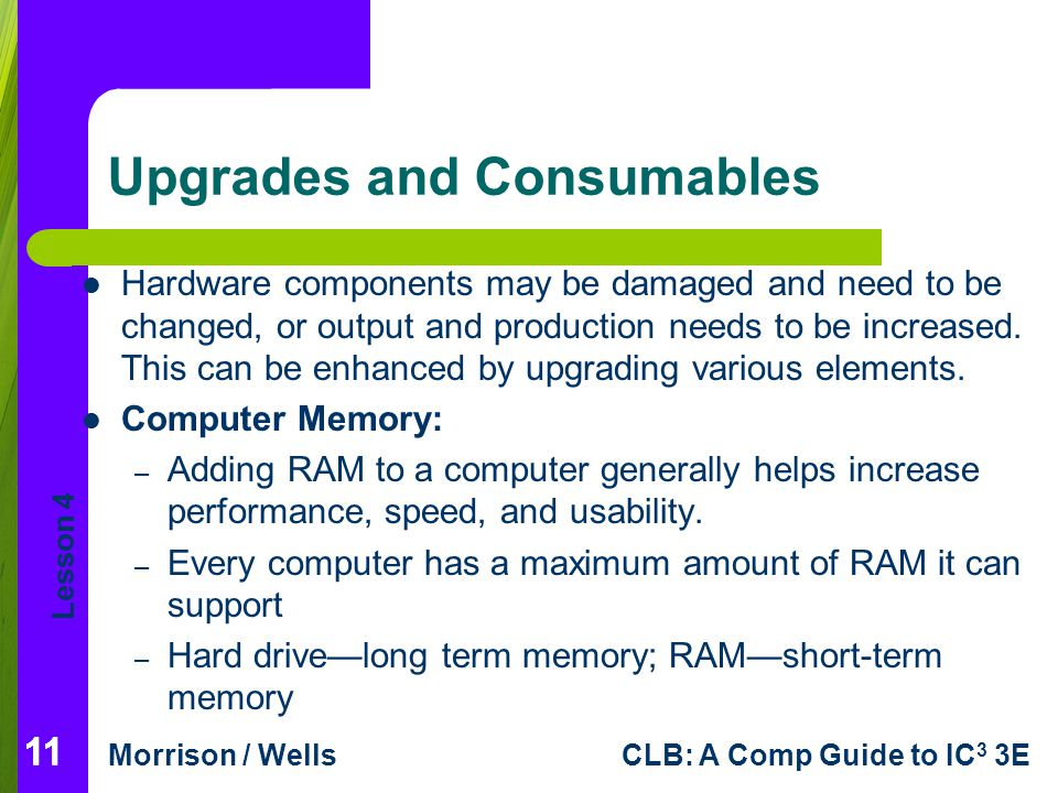 Lesson 4 Morrison / WellsCLB: A Comp Guide to IC 3 3E 11 Upgrades and Consumables Hardware components may be damaged and need to be changed, or output