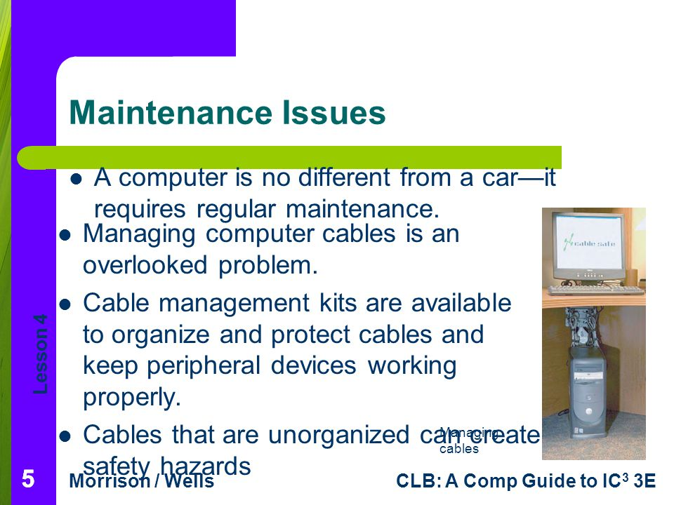 Lesson 4 Morrison / WellsCLB: A Comp Guide to IC 3 3E Maintenance Issues A computer is no different from a carit requires regular maintenance. 555 Man