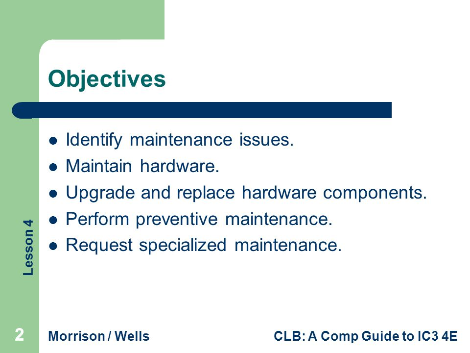 Lesson 4 Morrison / WellsCLB: A Comp Guide to IC3 4E 222 Objectives Identify maintenance issues.