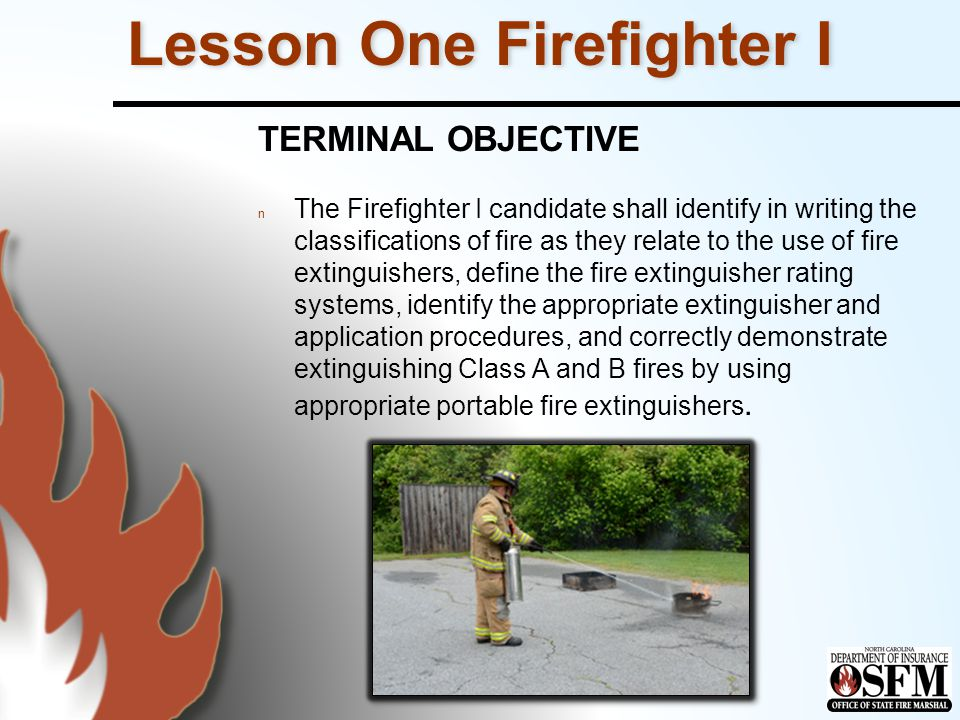 Summary Review the five classes of fire and the type of portable fire extinguisher to be used on each class of fire.