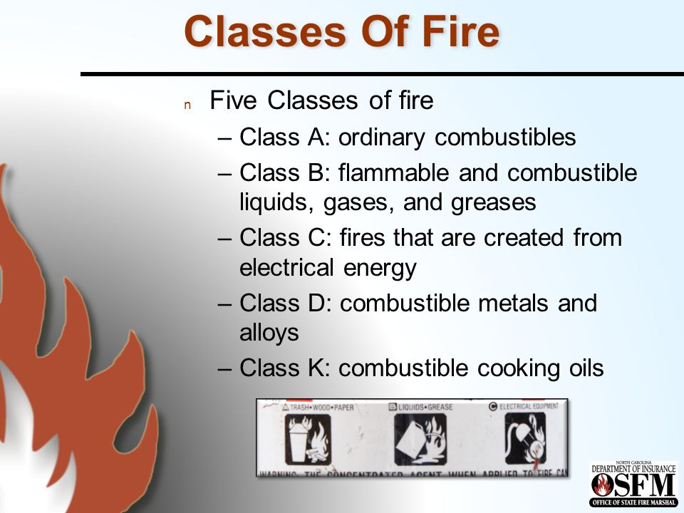 Classes Of Fire n Class A: ordinary combustibles –Textiles, paper, plastics, rubber, wood n Class B: flammable and combustible liquids, gases, and greases –Alcohol, cooking oils, gasoline, LPG n Class C: fires that are created from electrical energy n Class D: combustible metals and alloys –Lithium, magnesium, potassium, sodium n Class K: combustible cooking oils –Vegetable and animal fats and oils