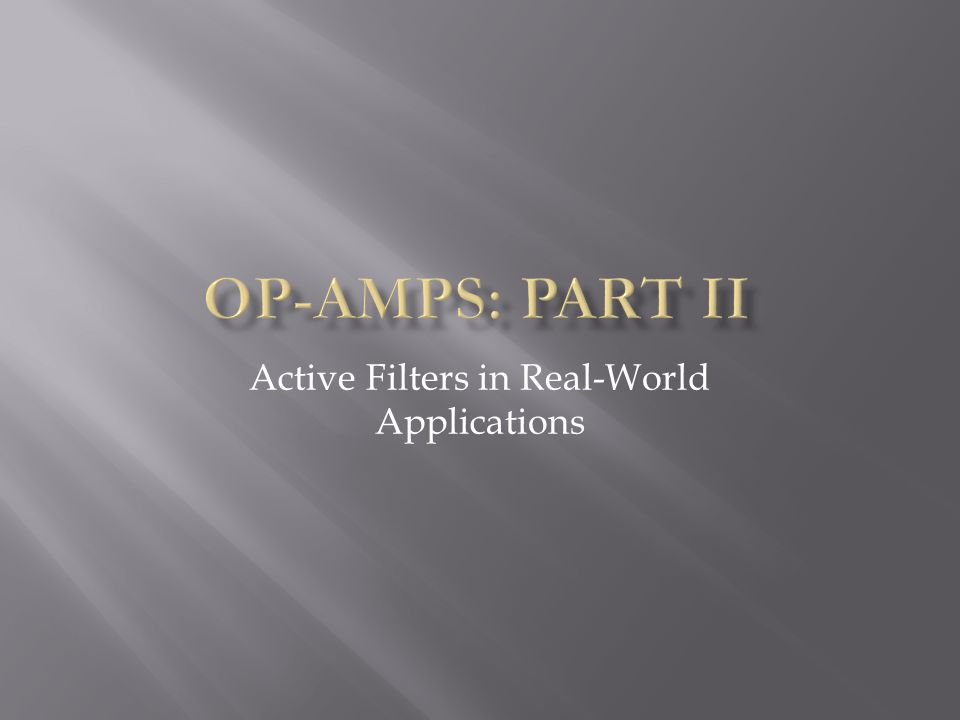 Active Filters in Real-World Applications