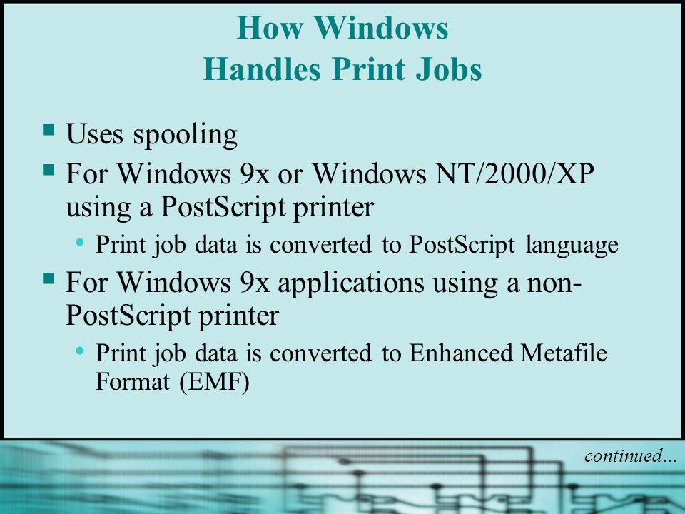 How Windows Handles Print Jobs Uses spooling For Windows 9x or Windows NT/2000/XP using a PostScript printer Print job data is converted to PostScript