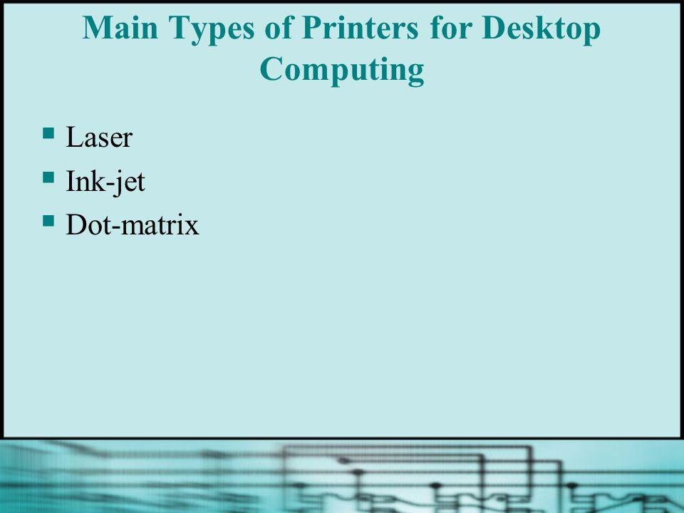 Main Types of Printers for Desktop Computing Laser Ink-jet Dot-matrix