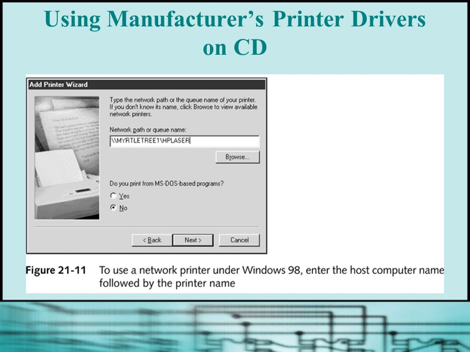 Using Manufacturers Printer Drivers on CD