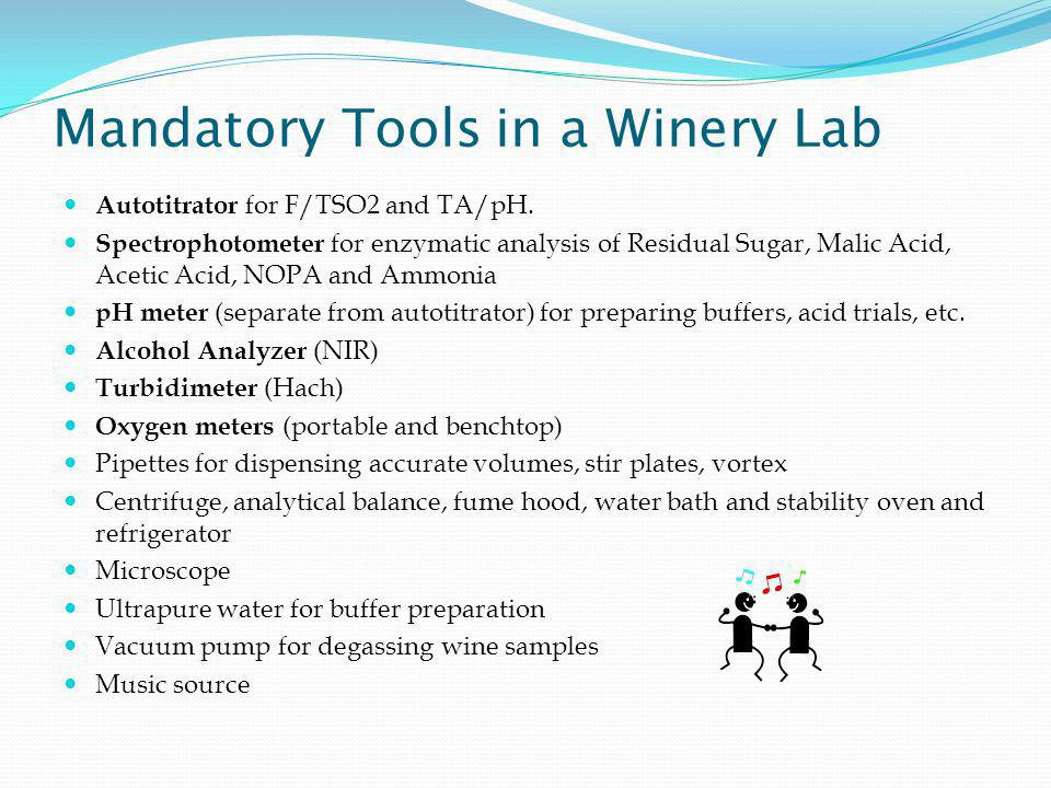 Mandatory Tools in a Winery Lab Autotitrator for F/TSO2 and TA/pH.
