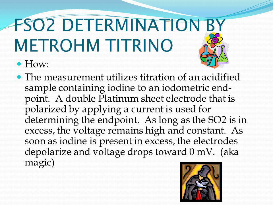 FSO2 DETERMINATION BY METROHM TITRINO How: The measurement utilizes titration of an acidified sample containing iodine to an iodometric end- point.