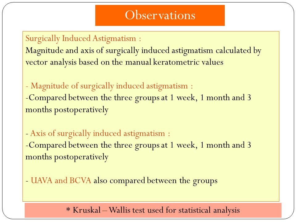 Surgically Induced Astigmatism : Magnitude and axis of surgically induced astigmatism calculated by vector analysis based on the manual keratometric v