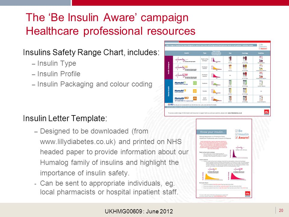 . 20 UKHMG00609 : June 2012 The Be Insulin Aware campaign Healthcare professional resources Insulins Safety Range Chart, includes: – Insulin Type – In
