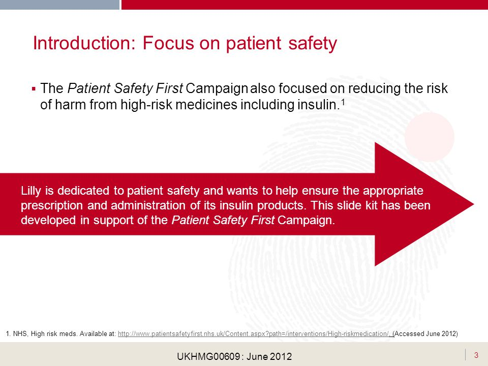 . UKHMG00609 : June 2012 The Patient Safety First Campaign also focused on reducing the risk of harm from high-risk medicines including insulin. 1 Int