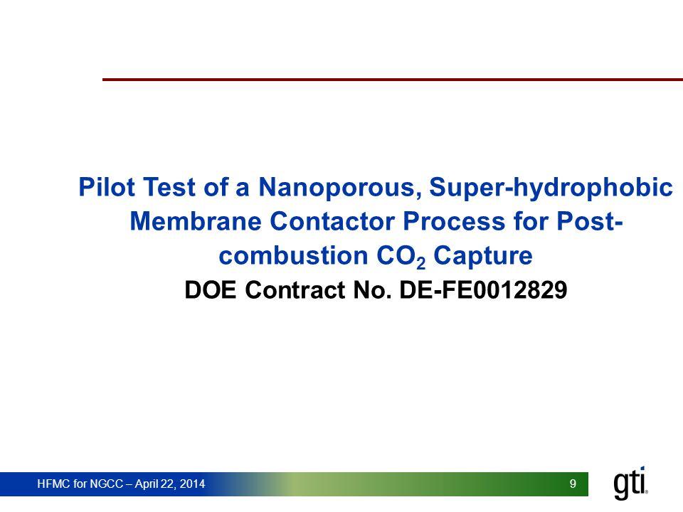 HFMC for NGCC – April 22, 2014 99 Pilot Test of a Nanoporous, Super-hydrophobic Membrane Contactor Process for Post- combustion CO 2 Capture DOE Contr