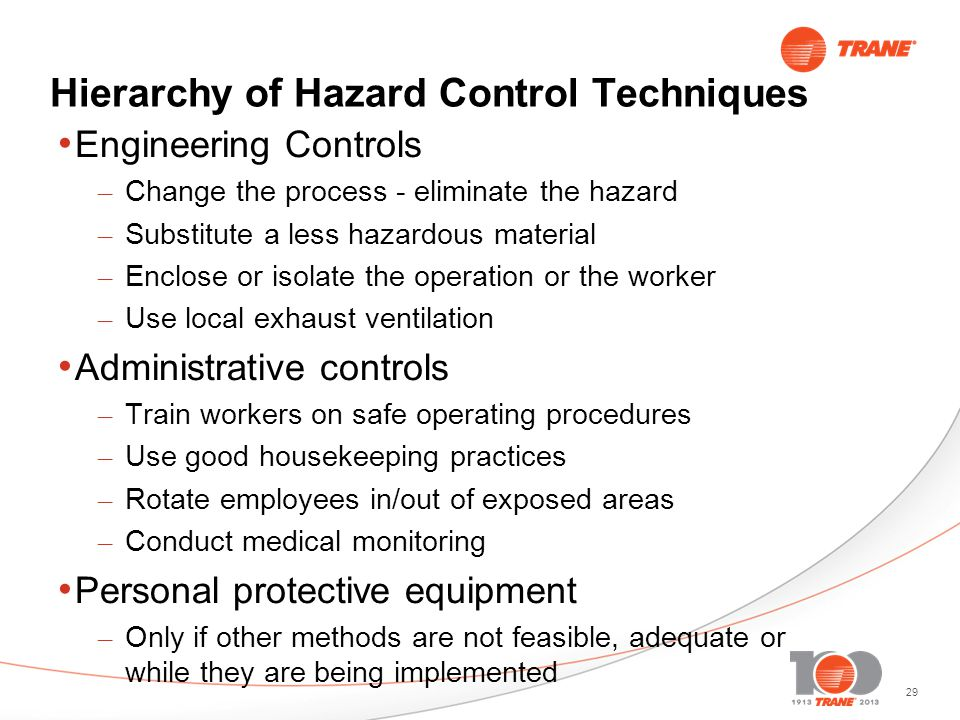 29 Hierarchy of Hazard Control Techniques Engineering Controls – Change the process - eliminate the hazard – Substitute a less hazardous material – Enclose or isolate the operation or the worker – Use local exhaust ventilation Administrative controls – Train workers on safe operating procedures – Use good housekeeping practices – Rotate employees in/out of exposed areas – Conduct medical monitoring Personal protective equipment – Only if other methods are not feasible, adequate or while they are being implemented